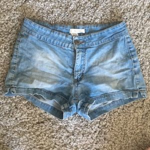 Blue asphalt light wash Jean shorts